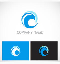 round wave water logo vector image