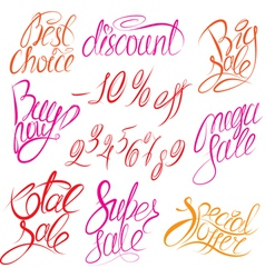 Set of hand written words Buy now Best choice vector image