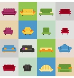 sofa and armchair icons vector image