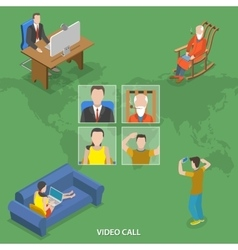 Video call isometric flat concept vector image vector image