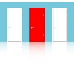 Doors on a blue wall vector image vector image
