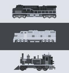 Flat design of train locomotive set vector image