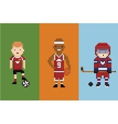 pixel art style - sportsman football vector image vector image