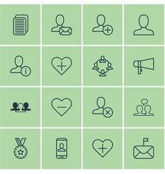 set of 16 communication icons includes profile vector image vector image