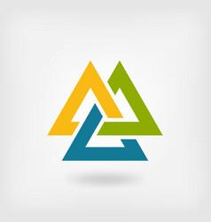 tricolor valknut symbol interlocked triangles vector image