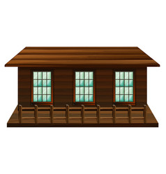 wooden cabin with three windows vector image vector image