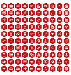 100 partnership icons hexagon red vector