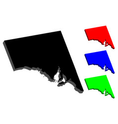 3d map of south australia vector