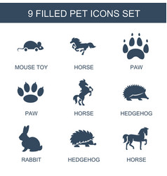 9 pet icons vector image