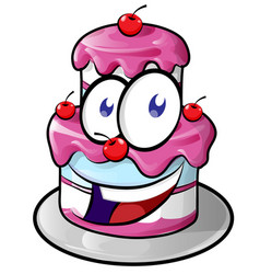 a cute happy cake cartoon vector image