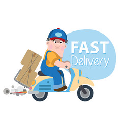 A man on moped quickly delivers goods vector