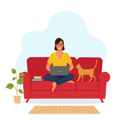 a woman works with a laptop online vector image