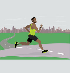 african american guy running on background vector image