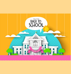 Back to school card papercut highschool landscape vector