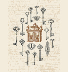 Banner with vintage keys keyholes and old house vector