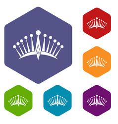 big crown icons set hexagon vector image