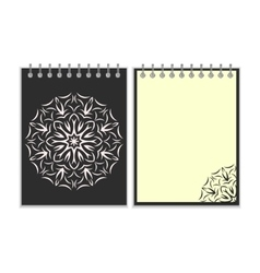 Black cover notebook with round florwer pattern vector