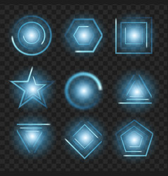 blue glowing lights shape on black transparent vector image