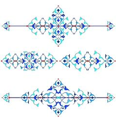 blue oriental border and ornament sixteen vector image