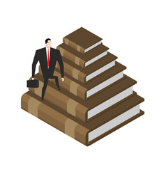 businessman walks stairs from books knowledge and vector image
