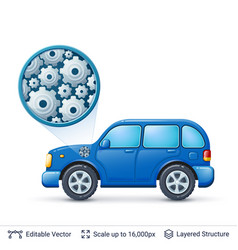 car and gears vector image