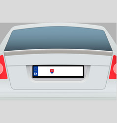 Car back view with number plate vector