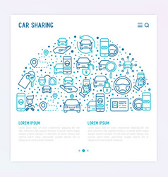 Car sharing concept in half circle vector