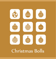christmas ball icon set vector image