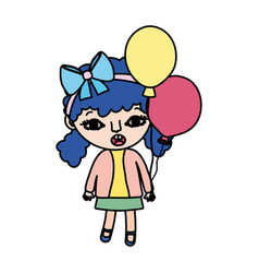 Color girl child with two tails and balloons vector