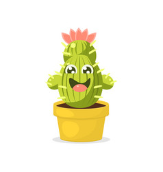 Cute cartoon cactus character with happy funny vector