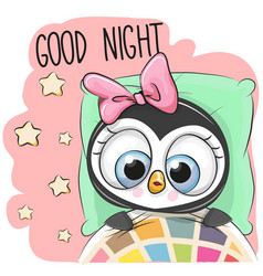 Cute cartoon sleeping penguin girl vector