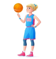 cute little basketball player girl spinning vector image
