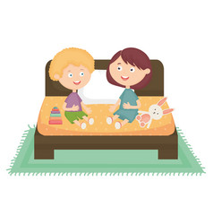 cute little kids couple playing with toys in bed vector image