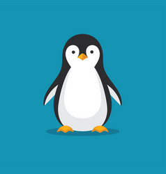Cute penguin icon in flat style vector
