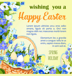 Easter egg poster paschal greeting template vector