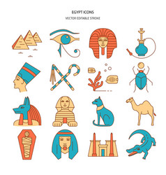egypt icons set in colored line style vector image