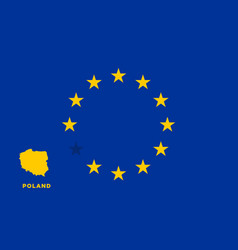 Eu flag with poland country european union vector