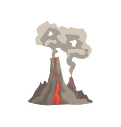 fired up volcanic mountain with magma hot lava vector image