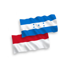 Flags indonesia and honduras on a white vector