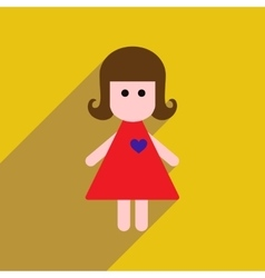 Flat web icon with long shadow girl vector