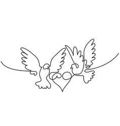 Flying two pigeons with heart logo vector