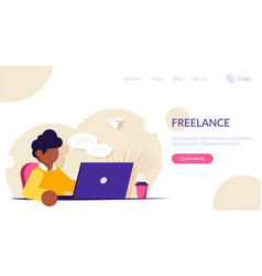 freelancer or office worker sits at a desk with a vector image