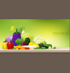Fresh vegetables on wooden table healthy food vector