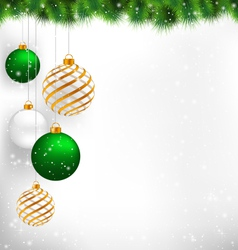 Golden spiral and green christmas balls with pine vector