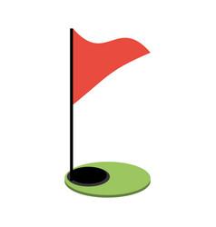 Golf flag and hole vector
