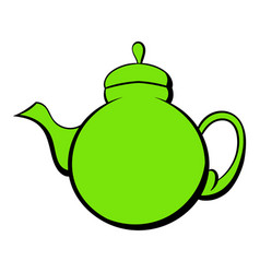 Green teapot icon cartoon vector
