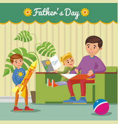 Greeting happy fathers day concept vector