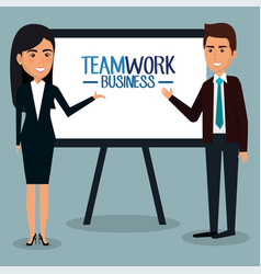 Group of businespeople with paperboard teamwork vector