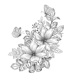Hand drawn flowers and butterflies vector