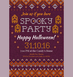 handmade knitted background pattern halloween vector image